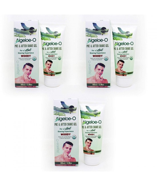 Aloevera Pre And After Shave Gel-Musk ,100 ml (3.38 Oz.), Pack Of 3